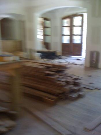 New walnut flooring installed