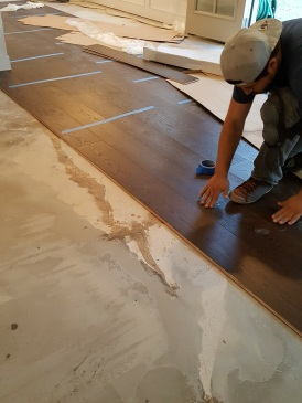 Wood floor installation starting point.