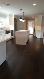 Kitchen with engineered wood floor installed